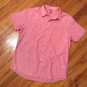 IZOD saltwater short sleev chambray slub shirt xl